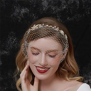 Aimimier Bridal Baroque Crystal Pearl Headband with Birdcage Veil Wedding Vintage 1920s Mesh Veil Floral Rhinestone Hair H...