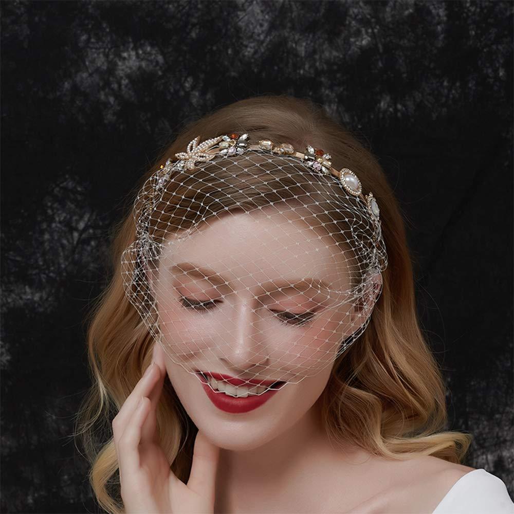 Aimimier Bridal Baroque Crystal Pearl Headband with Birdcage Veil Wedding Vintage 1920s Mesh Veil Floral Rhinestone Hair Hoop for Women and Girls