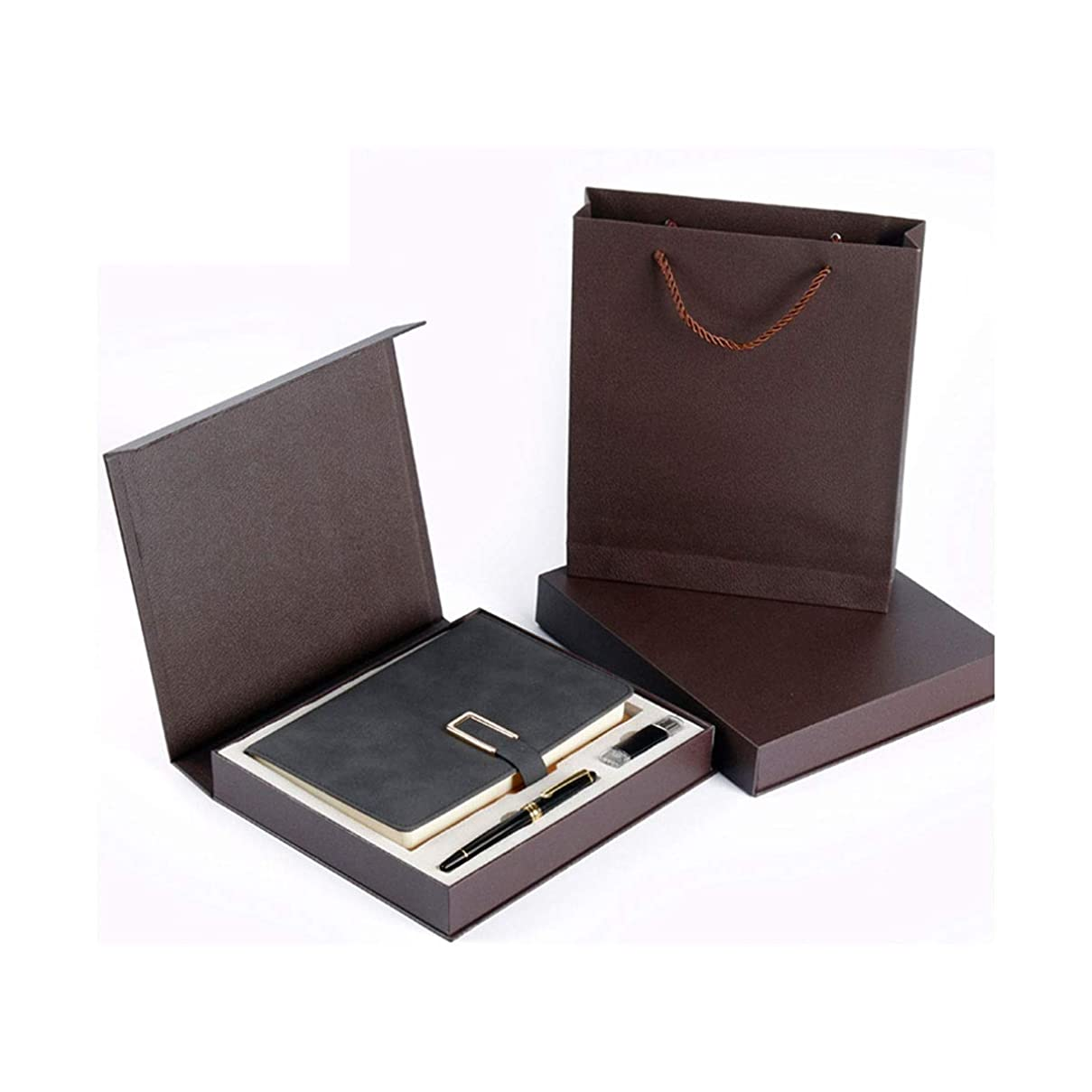 Kuqiqi 父の日ギフト、ノートブックギフトセット、日記、革のメモ帳、会議録、Uディスクビジネスノート、ブラック、茶色、ブルー、グレー、赤 高品質の製品 8 (Color : Red, Style : A)