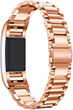 Charge 2 Bands, Kuxiu Adjustable Stainless Steel Metal Wristband Strap with Adjustment Tool Compatible for Fitbit Charge 2 Tracker (Rose Gold)