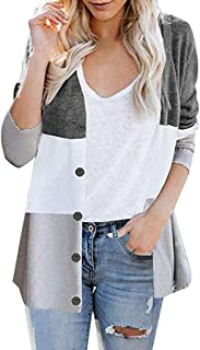 Autumn Womens Long Sleeve Color Block Button Casual Knitted Outerwear Cardigan Sweater