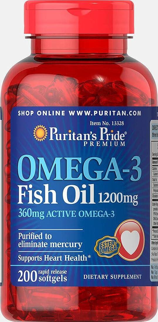できる伝統的確認するピューリタンズプライド(Puritan's Pride) オメガ3 魚油 フィッシュオイル 1200 mg.ソフトジェル