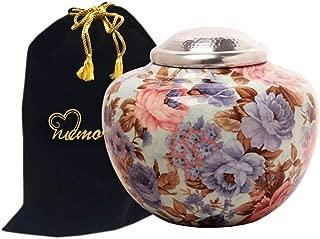 MEMORIALS 4U Floral Cremation Urn with Silver Lid - Floral Garden Adult Funeral Urn - Handcrafted Flower Urn -Affordable Urn for Ashes