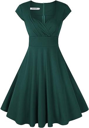 370a9f8bd86d3b KOJOOIN Damen 50er Vintage Cocktailkleid Abendkleid Rockabilly Kleid  Taillenbetontes KleiderVerpackung MEHRWEG