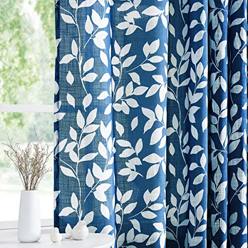 "Treatmentex White and Blue Curtains for Bedroom 72"" Length Semi-Sheer Print Leaf Curtains for Living Room Windows, Deep Blue Grommet Top, 2 Pack"