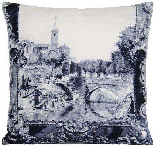 Town et pont Housse de coussin Taie d'oreiller DESIGNERS GUILD Tissu Couvre-lit Gris Étui Scènes de la ville de Arles Imagé
