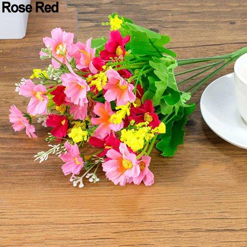 ypypiaol 1 Ramo 28 Cabezas Artificiales Margarita Tela De Seda Flor Dulce Decoración Del Banquete De Boda Rosa roja