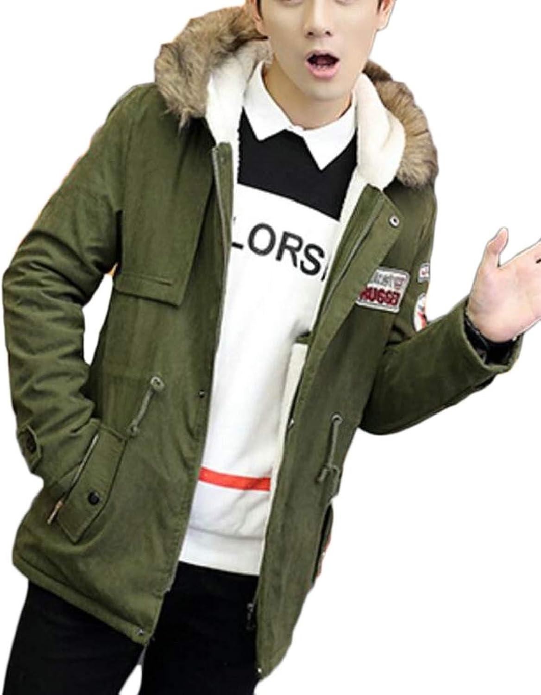 XQS Men's Thicken Warm Winter Hooded Faux Fur Lined Coats Outwear Jackets