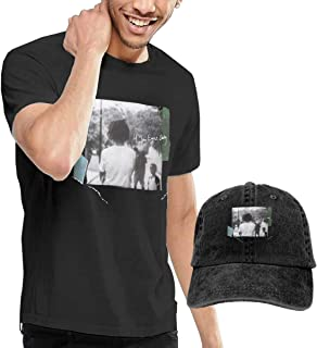 GabrielR Men's J Cole 4 Your Eyez Only Tshirt and Washed Denim Baseball Dad Caps Black
