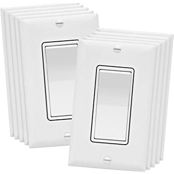 ENERLITES 3-Way Decorator Paddle Rocker Light Switch with Wall Plate, Single Pole or Three Way, 3 Wire, Grounding Screw, Residential Grade, 15A 120V/277V, UL Listed, 93150-WWP-10PCS, White (10 Pack)
