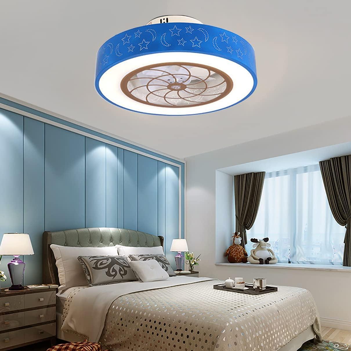 Infantil Ventilador Techo Con Luz Y Mando 2 Velocidades Dormitorio Regulable Estrellas Y Luna Lamparas Ventilador De Techo Moderno Silencioso Ventilador Techo Con LED Luz,Azul