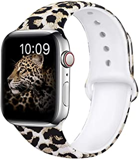 OriBear Compatible with Apple Watch Band 40mm 38mm 44mm 42mm Elegant Floral Bands for Women Soft Silicone (A-Sexy Leopard, 40/38mm S/M)