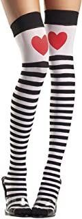 Women's Striped Queen of Hearts Thigh High Stockings