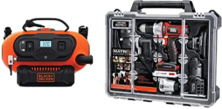 BLACK+DECKER BDINF20C 20V Lithium Cordless Multi-Purpose Inflator (Tool Only) with BLACK+DECKER BDCDMT1206KITC Matrix 6 Tool Combo Kit with Case