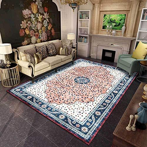 Teppich Moderner Wohnzimmer Große Area Rugs Ethnischer Stil des Retro-Musters Hellrosa Schlafzimmer Zimmer Teppich Sofa Tisch Kind Krabbeln Matte 120x160CM (3ft11 x5ft3)