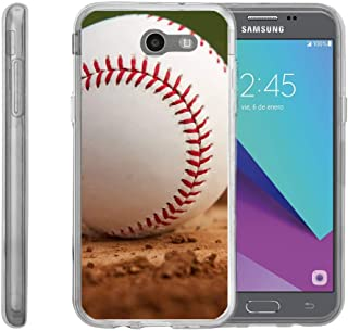 TurtleArmor   Compatible with Samsung Galaxy J3 Emerge Case   J3 (2017) [Flexible Armor] Slim Fit Flexible TPU Case Soft Bumper Cover Sports and Games - Baseball Dirt