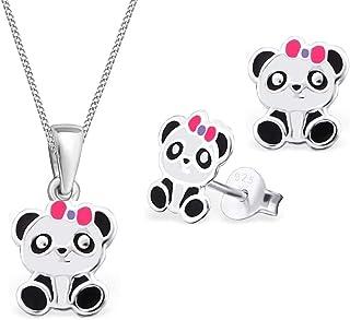 TATA GISELE /© Parure Enfant Collier et Boucles dOreilles en Argent 925//000 et Epoxy Panda