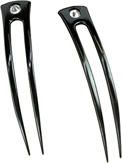 """JWL (2) Anodized Aluminum Two Prong Curved 6"""" Hair Forks Unbreakable Waterproof Pick Pic Pin Fork - Hawaiian Style (Black)"""