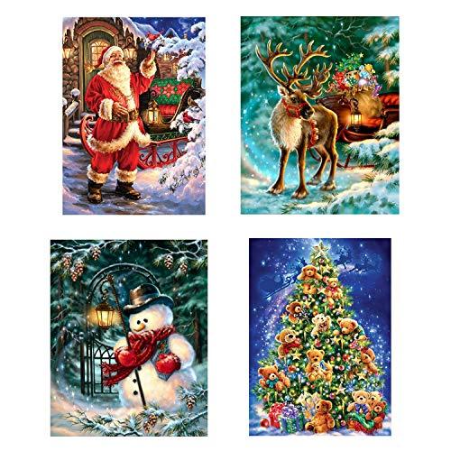4 confezioni fai-da-te kit pittura trapano diamante arte 5D Natale, Natale Babbo Natale neve cervi albero di Natale pittura diamante per adulti bambini decorazione della parete di casa
