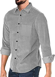 FUERI Mens Corduroy Shirt Long Sleeve Shirt Regular Fit Casual Cotton Winter Fall Spring Warm Plain Shirts Outwear Tops No...