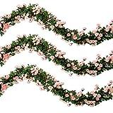 Veryhome 2 Stücke 69 Köpfe 5.7FT Künstliche Rose Vine Silk Gefälschte Blumen Garland Pflanze Floral Ivy Dekorationen Für Zuhause Hochzeitsarrangement Party Garten Dekor (Rosa, 2PCS)