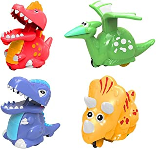 Jofan 4 Pack Dinosaur Toys Press and Go Dinosaur Cars Dinosaur Wind Up Toys for Kids Boys Toddlers Christmas Stocking Stuffers Dinosaur Party Supplies Favors