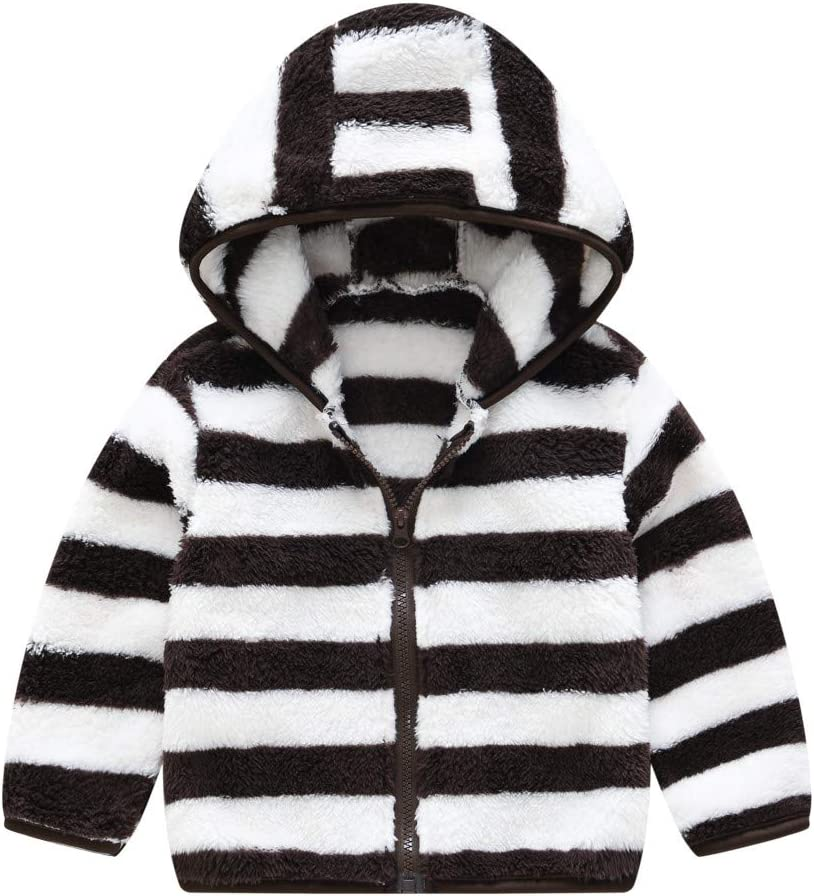 Hooded Baby Boys Girls Autumn Winter Long Sleeve Zipper Striped Thick Warm Outerwear Overcoat Windproof Cartoon Pullover for 2-7 Years Toddler Polar Fleece Jacket Black, 2-3 Years