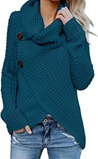 Womens Sweaters Turtle Cowl Neck Chunky Cable Knit Button Wrap Pullover Sweater Coats (S-XXL)