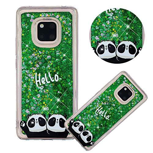 Glitzer Hülle für Huawei Mate 20 Pro,Flüssigkeit Silikon HandyHülle für Huawei Mate 20 Pro,Moiky Luxuriös Mode Zwei Panda Muster Liebe Herzen Treibsand Diamant Weich Gummi Hülle