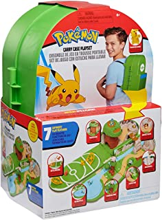 """Pokemon Carry Case Playset, Feat. Different Locations Within One Playset, with 2"""" Pikachu Figure, Plus Accs Like Treetop Trap Door, Battle Area, Hidden Cave & More - Easily Folds into a Backpack"""