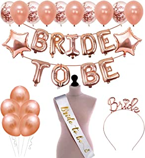 SOI Bride to Be Rose Gold Theme Decoration Combo for Bride to be Bachelorette Party Decoration Balloons with Sash and Hair...