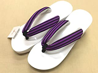 【TONE】女性ピドヒール下駄 24cm 白台×紫ゴム 黒紫ストライプ