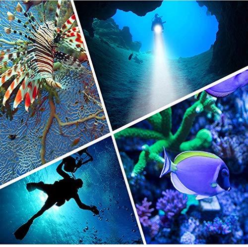 WAWAYU Antorcha Poderosa, 12800mAh IPX8 Potente Salto de la Linterna Fotografía de luz LED bajo el Agua 80m COB Buceo con escafandra antorcha lámpara multifunción