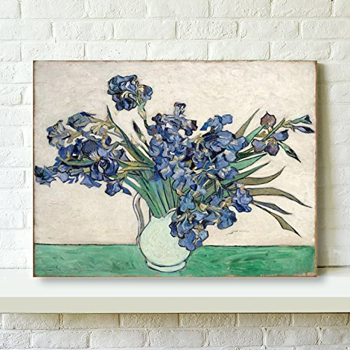 Wieco Art Irises Canvas Prints Wall Art Flowers by Van Gogh Famous Oil Paintings Reproduction Modern Stretched and Framed Floral Picture Giclee Artwork Ready to Hang for Bedroom Home Office Decoration