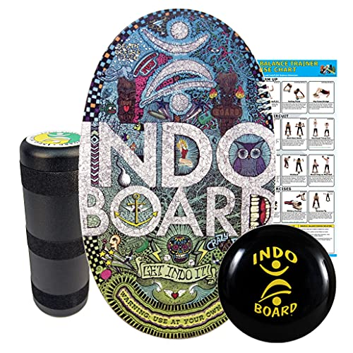 INDO BOARD Original Training Package - Doodle Design - Balance Board for Fitness Training and Fun - Comes with 30' X 18' Deck, 6.5' Roller and 14' IndoFLO Cushion