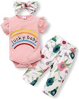 ZOEREA Baby Mädchen Kleidung Set Mode Niedlich Langarm Sweatshirt Tops  Leopard Hose  Bogen Stirnband Neugeborene Kleinkinder Babykleidung Outfits Set