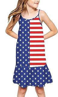 Deerose Girls July 4th Spaghetti Strap Ruffle Dress American Flag Sundress