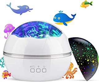 Night Light Projector,Delicacy 2 in 1 Ocean Undersea Lamp and Starry Sky Projector, 360° Rotating 8 Colors Mode LED Night ...