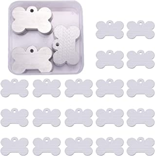 BENECREAT 30 Pack 1.57x1 Bone Shape Stamping Blanks Aluminum Blank Pendants with Snap Storage Case for Necklace Bracelet Jewelry Pendant Charms Dog Tags