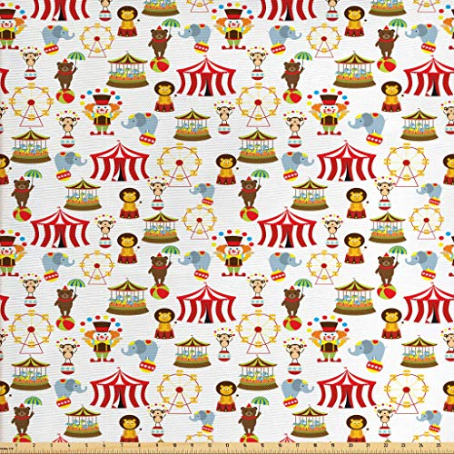 Ambesonne Circus Fabric by The Yard, Circus Elephant Bear Monkey Animals Merry Go Round Magic Classic Celebration Print, Decorative Fabric for Upholstery and Home Accents, 1 Yard, Red Brown