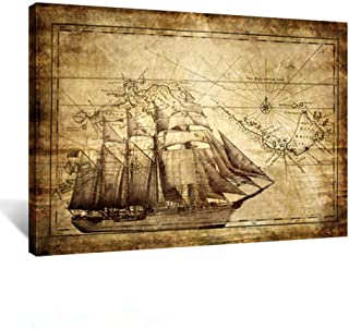 Kreative Arts Large Old World Map Sailing Map Vintage Decorative Painting Canvas Print Nautical Posters with Frame Art Modern Wall Décor Artwork Living Room Office Ready to Hang 40x30inch
