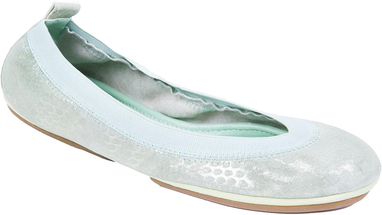 Yosi Samra YSMS Textured Ballet Flats Pastel Green