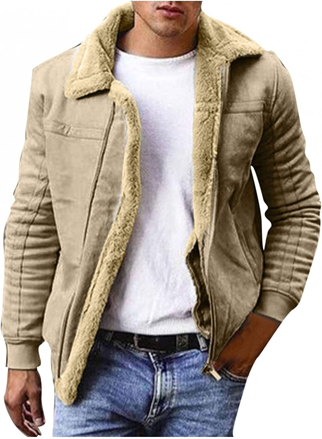 Huangse Plus Size Vintage Slim Fit Jacket for Men Casual Thick Fleece Sherpa Lined Button Front Corduroy Trucker Jackets