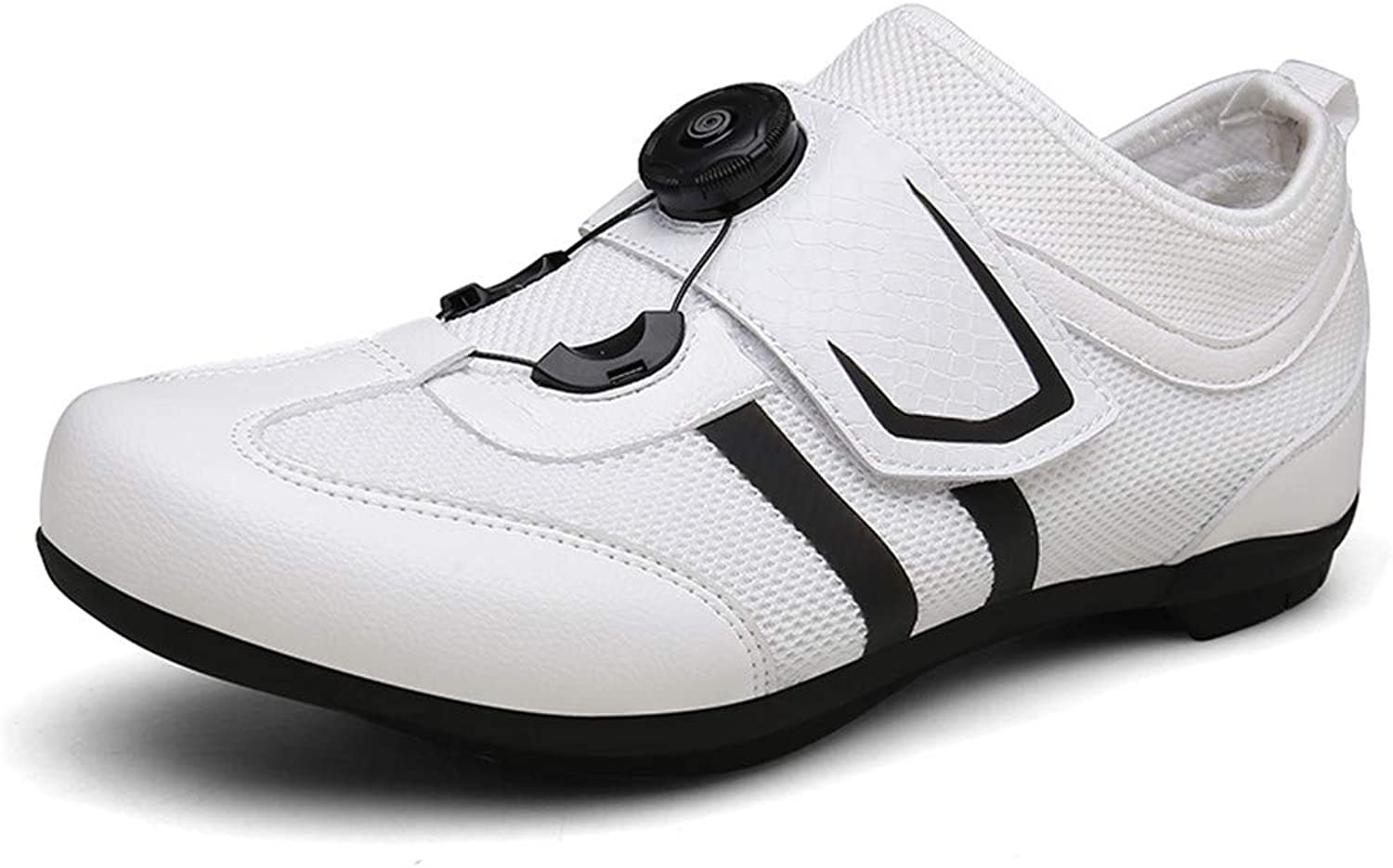 Willsky Men's Cycling shoes, Breathable Road Cycling shoes Anti-Skid Lock Assist Unisex Mountain Cycling shoes,White,39