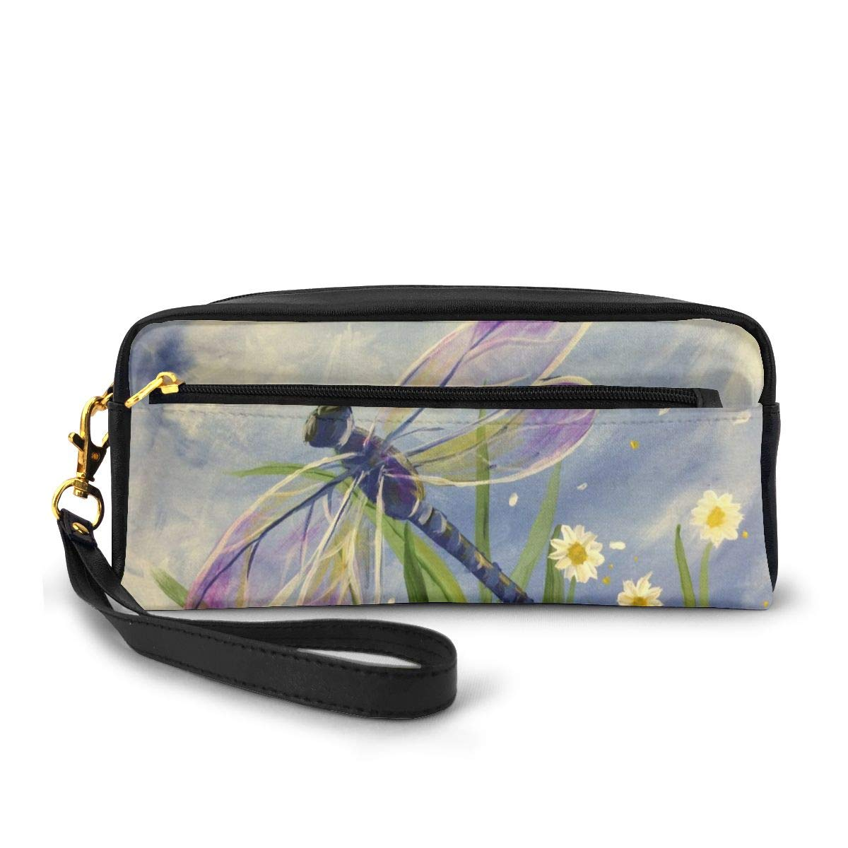 Estuche de lona con libélula floral de gran capacidad, para lápices, bolígrafos, estuche de maquillaje, neceser cosmético: Amazon.es: Oficina y papelería