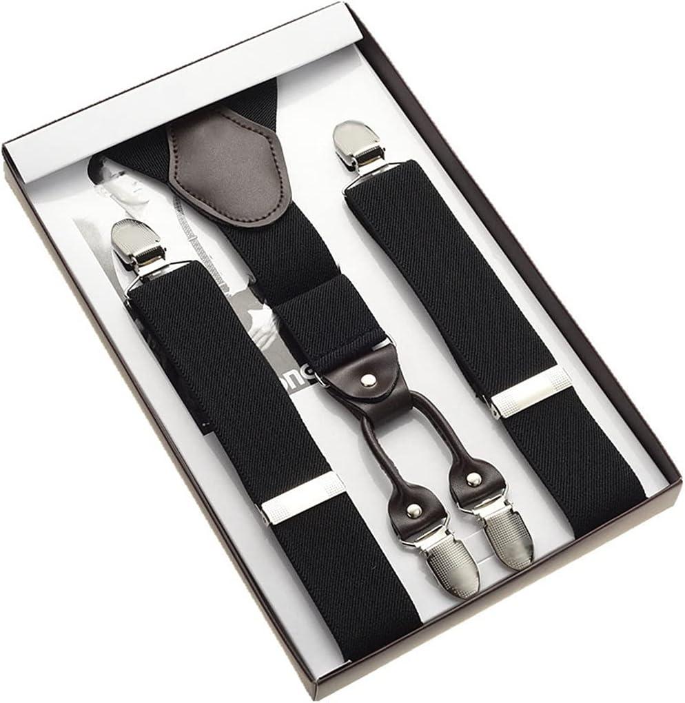 NJBYX Men Braces Stainless Steel Metal Clips Back Durable Elastic Adjustable Suspenders Strong Metal Clips (Color : C, Size : Adjustable)