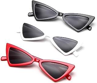 Sunglasses Fashion Accessories Retro Vintage Narrow Cat Eye Sunglasses for Women Clout Goggles Plastic Frame (Color : Beige)