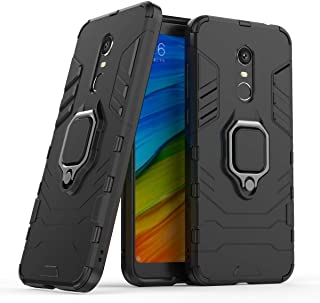Compatible with Redmi 5 Plus Case, Metal Ring Grip Kickstand Shockproof Hard Bumper Shell (Works with Magnetic Car Mount) Dual Layer Rugged Cover for Xiaomi Redmi 5 Plus (Black)