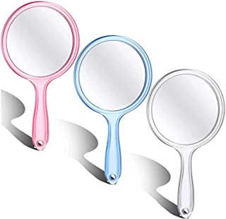 Double-Sided Handheld Mirror 1X/3X Magnifying Mirror with Handle Hand Held Travel Makeup Mirror Vanity Mirror for Shaving ...