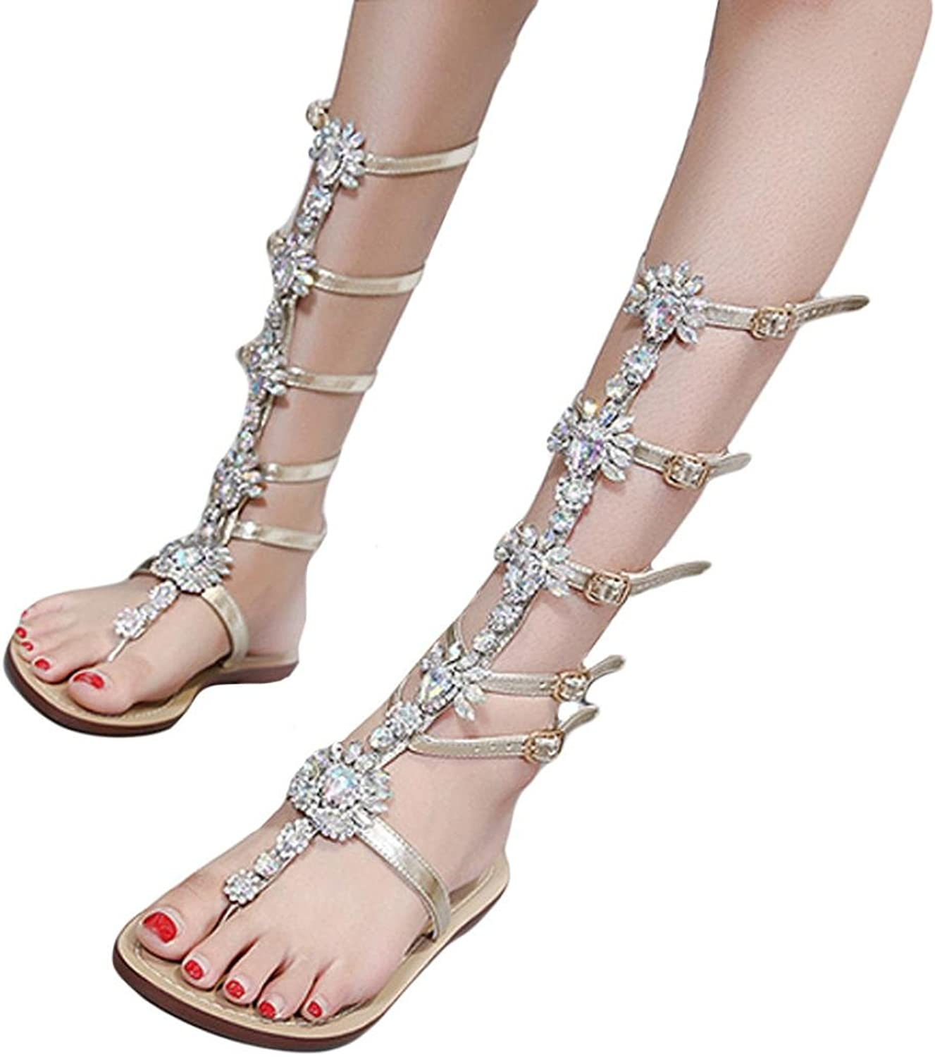 Fullfun Womens Summer Flat Shining Rhinestones Chain Sandals Boots T-Strap shoes